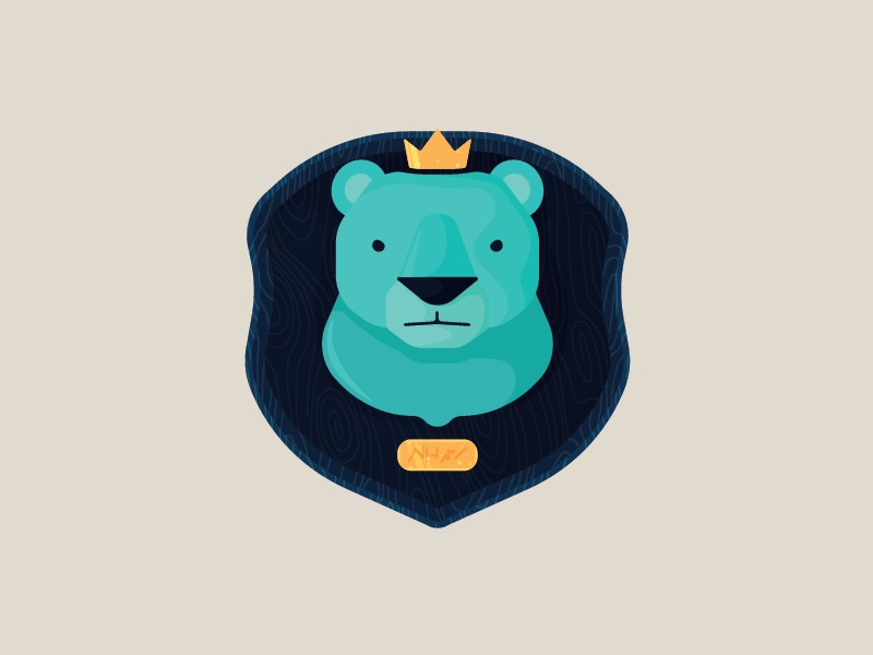 Just a Bear... crown king blue animal vector art digital illustration bear