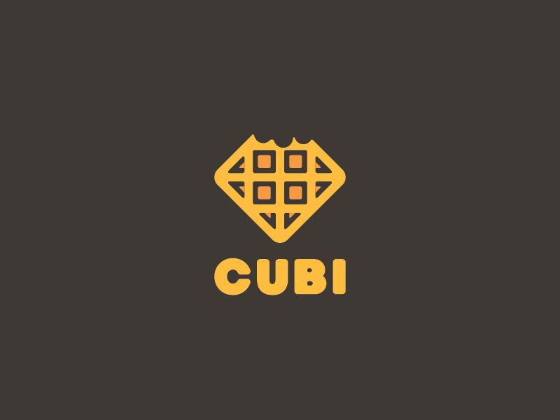 Cubi beanding brand sweet food minimal waffle logo