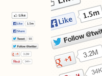 Vector social plugins buttons