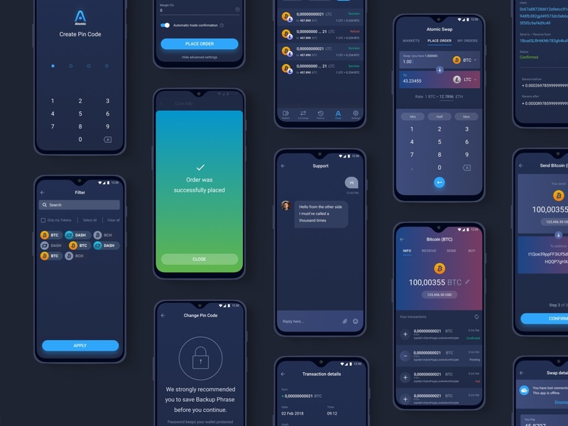 Atomic Crypto Wallet android service interface ux ui yoneg app mobile crypto wallet wallet crypto