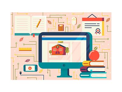 Back to School pt. 2 pattern illustrator fall technology school back to school