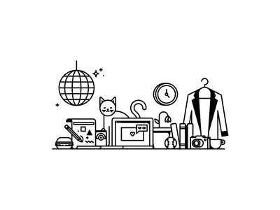 Design team print screen print blazer computer cat disco ball illustrator icon flat