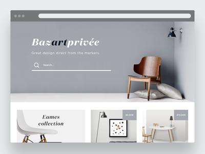 Art & design shop // BazartPrivée template website shop minimal flat web clean commerce ui art design