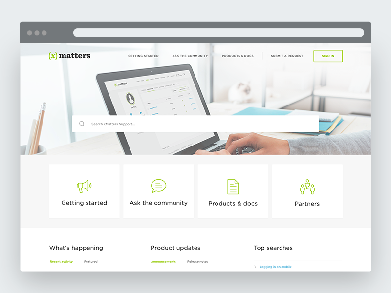 Help center // xMatters hero landing page minimal flat design clean zendesk web ui suport help center