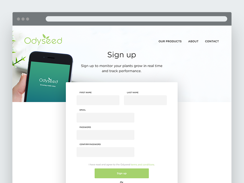 Sign up form // Odyseed connect design minimal clean ui web field input form sign in sign up