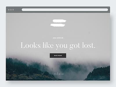 Indaïa 404 error screen error mockup web minimal design ux user interface webdesign ui layout 404