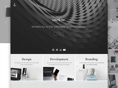 Anckor 2017 Facelift. black website webagency portfolio landing page monochrome webdesign web design layout ui minimal