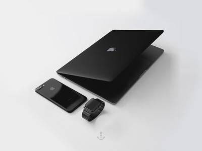 Black Setup setup editing edit photography 3d mockup concept apple black