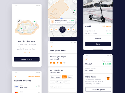 Electric Bikes and Scooters Rental App sharing economy profile rental survey promo wallet scooter map payment method payment bike app design