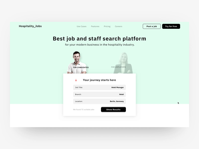 Homepage for job/staff search platform vacancies employer candidate job offer resume homepage landing application service hiring registration form digital enterprise motion animation interface interaction