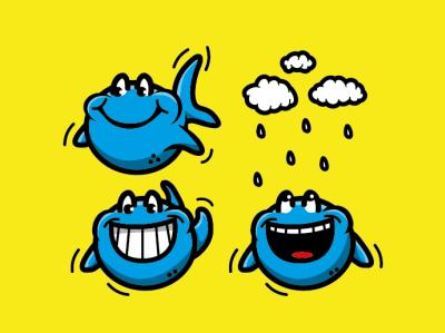 Funky Fish icon logo design comic vector cartoon illustration il branding