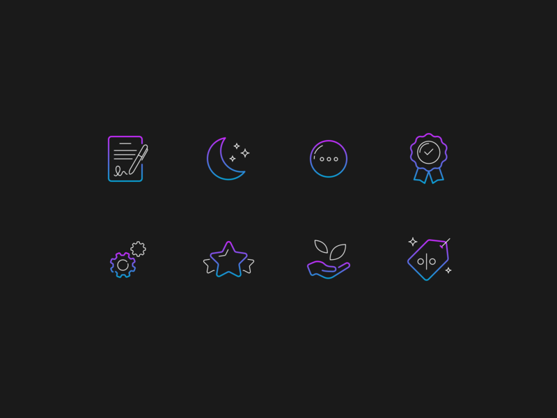 Neon icons ux ui custom minimal vector icon set gradient geometric iconography details dark outline stroke blue purple neon