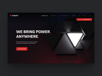 Design concept for energy company. gradient glass icon icons 3d neumorphism powersource light web energy company homepage figma ui website dark mode energy
