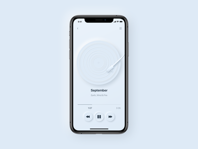 Neumorphic music player design 2020 trend neumorphic app mobile shadow minimalism gradient color blue iphone player vinyl music apple neumorphism