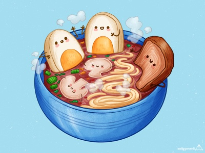 Ramen Sauna egg soup noodles cute animal illustration children cartoon hand drawn noodle cute art cute sauna ramen