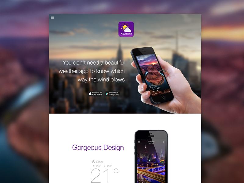 Yahoo Weather Landing website landing page home page weather app minimal. clean