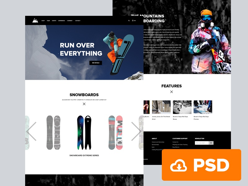 Snowboarding Website Free website landing page icons free