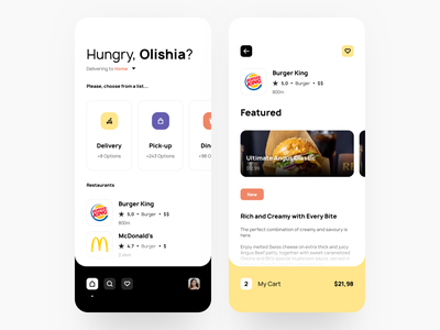 Foodistic Delivery App material delivery flat food cuisine illustration checkout card website app dashboard design desktop interface ios creative landing typography ui ux