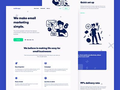 MailDroppa Landing Page email marketing splash flat map illustration agency minimalist website app dashboard design desktop interface ios creative landing typography ui ux