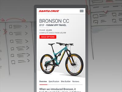 Santacruz - responsive concept  website mobile responsive bikes spec