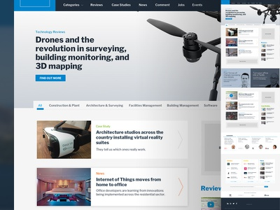Editorial layout technology website responsive ux ui magazine editorial