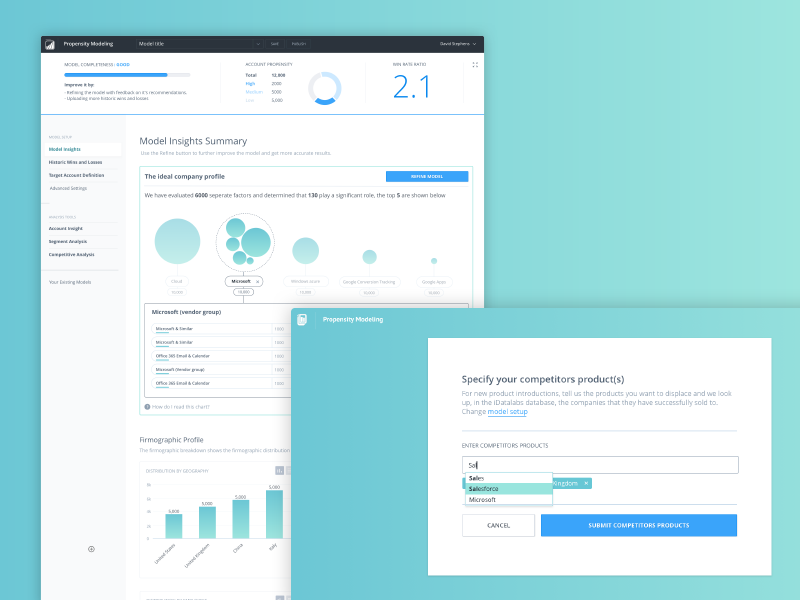 Enlyft UI dashboard data application ux ui