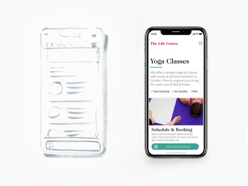 The Life Centre responsive design yoga website responsive mobile ux