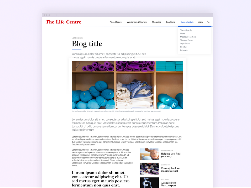 The Life Centre Blog yoga ui desgin ux design website response