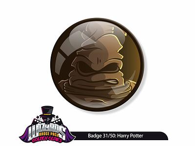 Daily Challenge 31/50: Harry Potter (2001) design graphic leather pin badge sticker sortinghat illustration hogwarts wizard magic harrypotter