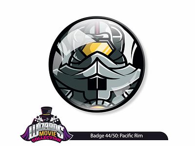 Movie concept 44/50: Pacific Rim (2013) ink drawing vector illustration badge pin sticker movie rim pacific