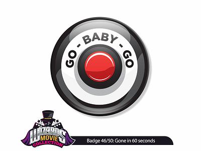 Badge design 46/50: Gone in 60 seconds (2000) wizard button illustration graphicdesign art vector sticker badge pin illustrator design