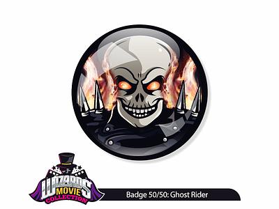 Movie concept 50/50: Ghost Rider (2007) wizard evil fire design vectorart pin badge sticker illustration rider ghost