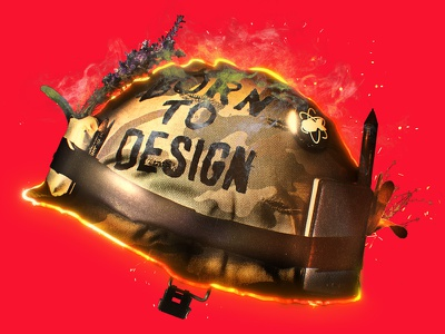 BORN TO DESIGN graph design motion design photo helmet full metal jacket design illustration