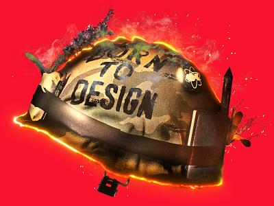 BORN TO DESIGN graph design motion design photo helmet full metal jacket design illustration