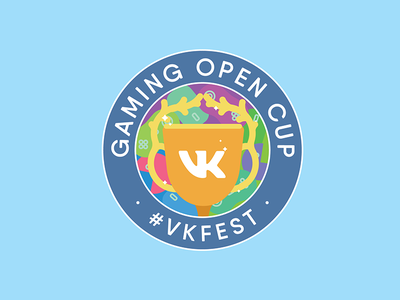 VK GAMING OPEN CUP LOGO saturated flat graphic design design illustration