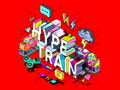 HYPE TRAIN hype 3d red isometric typography illustration animation motion design design