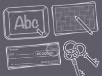 Icons: Blackboard, Sketch, Check, Keys