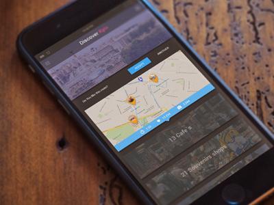 UI/UX/Iphone app concept. Discover Kyiv design material mockup iphone. ios ux ui app