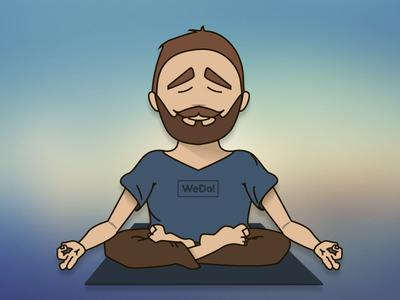 Meditation guy fo WeDo studio! relax beard icon flat blur meditation guy graphic art