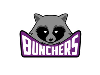 A raccoon design for Bunchers pet animal cute illustration minimalism flat design lettering line art line coon raccoon logo