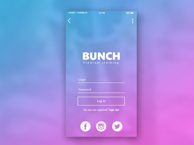 Bunch Login screen profile dogs iphone 7 iphone mobile application ux ui