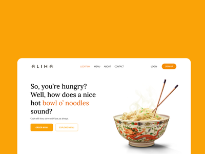 ALIMA - Hero Section yellow ui website food landing page restaurant hero section