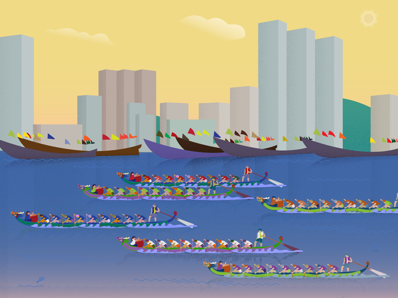 Dragon Boat Festival in China! china dragon boat festival flat illustrator 2d