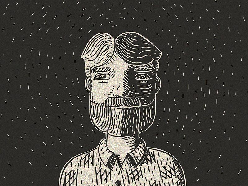 Me LinoCut 20 11 adobe illustrator selfportrait linocut drawing black and white