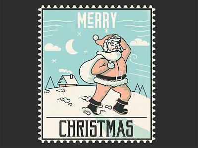 Santa 2018 hollidays merrychristmas santa 3 color vintage stamp adobe illustrator