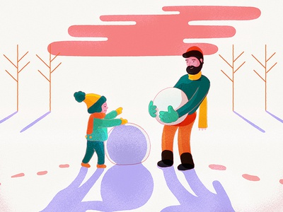 Me And Son In Snow snow day illustration 2d adobe illustrator