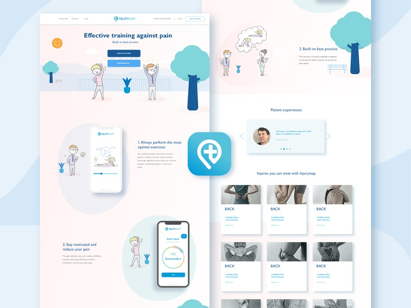 Health App Web Design and Logo Icon branding design ui logo illustration adobe illustrator