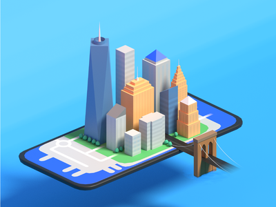 NYC on mobile map preview 3D illustration 3d art 3d blender3d