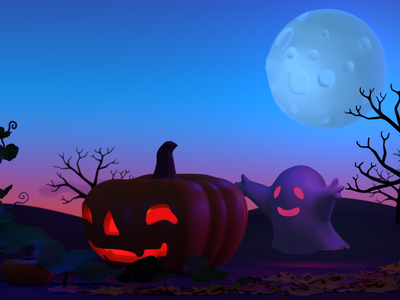 Halloween friends meet again haloween sunset illustration 3dillustration 3d blender 3d