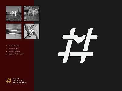 Save Malang Heritage typography icon design branding logo